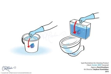 dropping blue cube in bucket and toilet water reservoir