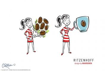 Vector Art Coffee Woman for Ritzenhoff
