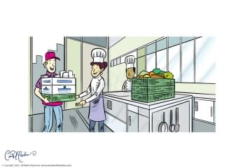 Goods Delivery In Restaurant Kitchen