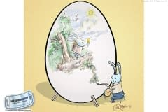 Easter Bunny painting egg