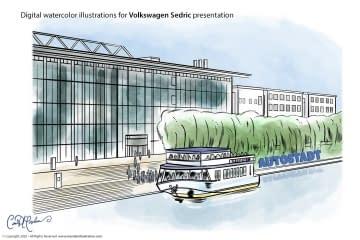 HQ Arrival - Volkswagen Sedric Concept Illustrations