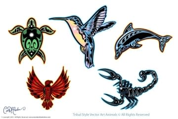 Tribal Animals Vector Art