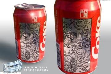 Recycling Comics on Coca Cola Cans