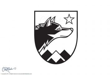 Wolfensberger Logo Crest Black and White