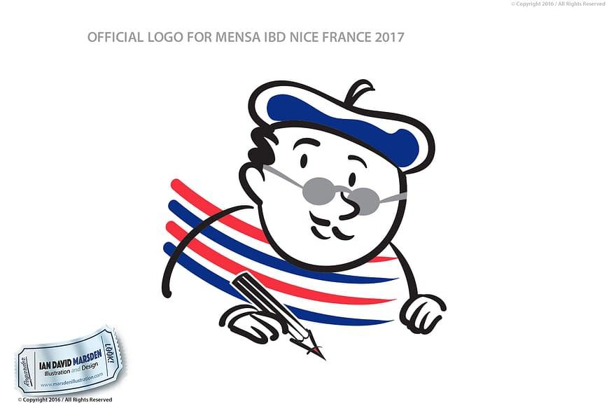 Mensa IBD 2017 Nice Image of logo, character and mascot design by Ian David Marsden