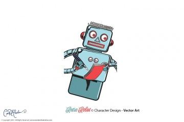 Retro Robot - Vector Art
