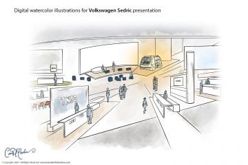 CeBIT Stand - Volkswagen Sedric Concept Illustrations